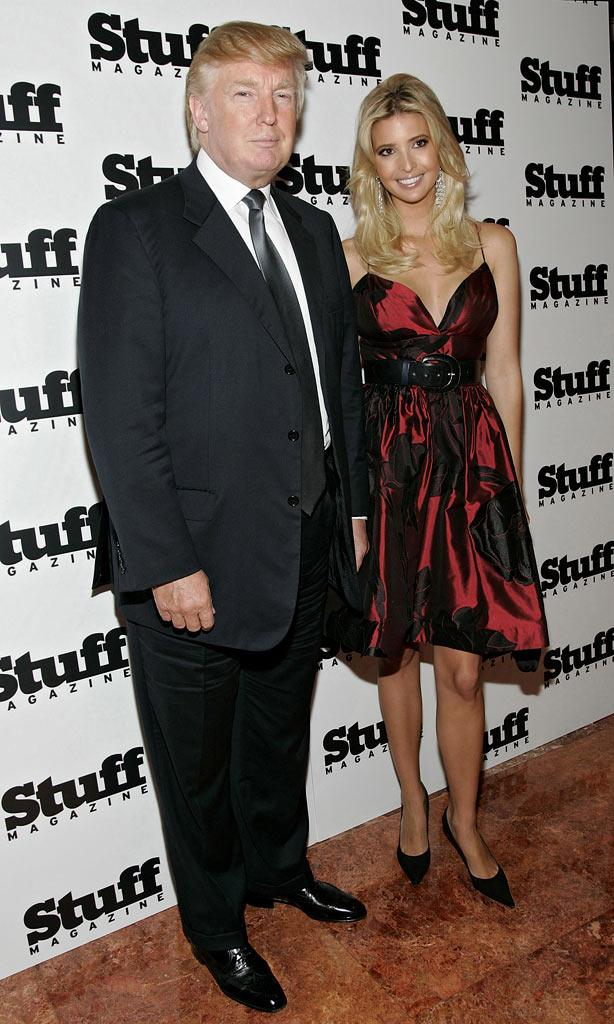 Donald Trump and Ivanka Trump, cover model for Stuff Magazine's 2007 Fall Fashion Issue, pose for photographers at the preview for the magazine.