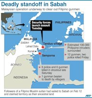 Graphic showing the area of deadly standoff in Malaysia's Sabah between local forces and followers of a Filipino Muslim sultan who are claiming territory as their ancestral land