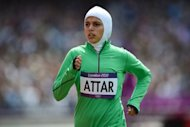 "Saudi Arabia's Sarah Attar competes in the women's 800m heats at the London Olympics on August 8. After limping home a distant last in her 800m heat, the US-born Attar called it the ""hugest honor to be here to represent the women of Saudi Arabia"""