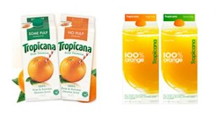 Tropicana is another brand that returned to their old logo design (left) after shoppers rejected the new one (right).