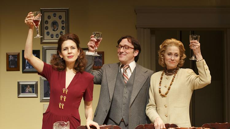 "This theater publicity image released by Boneau/Bryan-Brown shows Jessica Hecht, from left, Jeremy Shamos and Judith Light in a scene from ""The Assembled Parties, playing at the Samuel J. Friedman Theatre in New York. (AP Photo/Boneau/Bryan-Brown, Joan Marcus)"