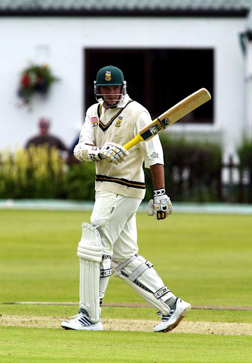 Graeme Smith of South Africa raises his bat