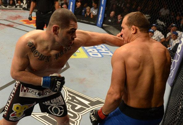 LAS VEGAS, NV - DECEMBER 29: Cain Velasquez versus Junior dos Santos during their heavyweight championship fight at UFC 155 on December 29, 2012 at MGM Grand Garden Arena in Las Vegas, Nevada. (Photo