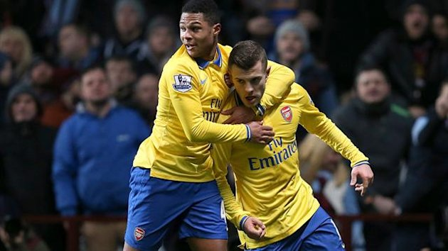 Arsenal's Jack Wilshere (right) celebrates scoring their first goal of the game with team-mate Serge Gnabry (PA Sport)