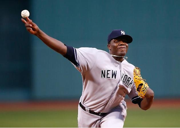Michael Pineda of the New York Yankees pitches against the Boston Red Sox in the first inning during the game at Fenway Park on April 23, 2014 in Boston, Massachusetts