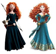 Before and After... Merida from Brave gets a makeover (Copyright: Disney)