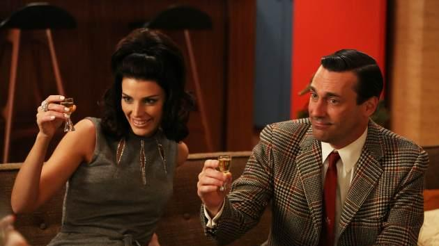 Megan (Jessica Pare) and Don Draper (Jon Hamm) in the Season 6 premiere of AMC's 'Mad Men' -- Michael Yarish/AMC