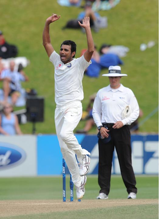 India's Mohammed Shami reacts to a dropped catch off his bowling against New Zealand on the fourth day of their second cricket test mat at Basin Reserve in Wellington, New Zealand, Monday, Feb. 17, 20