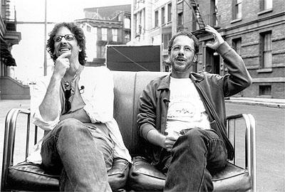 Joel Coen and Ethan Coen on the set of USA Films' The Man Who Wasn't There