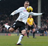 Fulham striker Dimitar Berbatov lashes in a volley against Stoke City at Craven Cottage on February 23, 2013 to give his side a 1-0 win. Victory for the Londoners lifted Martin Jol's men to 11th place in the table
