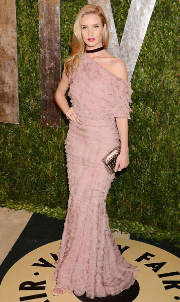 Worst dressed: Rosie Huntington-Whiteley British model Valentino AW12 Couture Vanity Fair Party Image © Rex