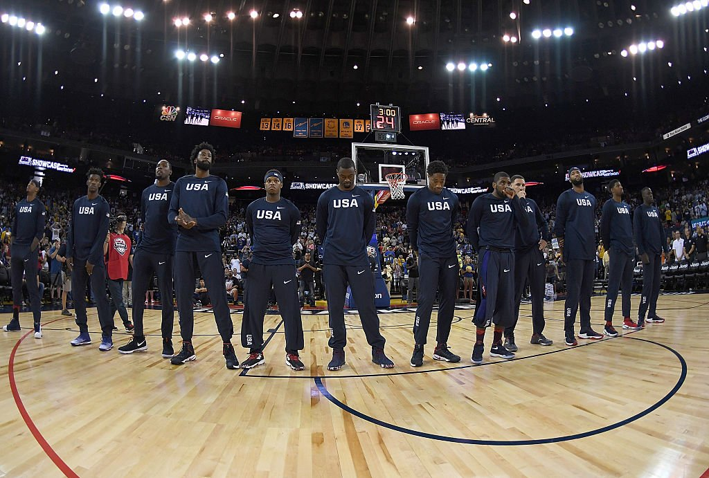 The 2016 United States Men's National Basketball Team stands together. (Thearon W. Henderson/Getty Images)