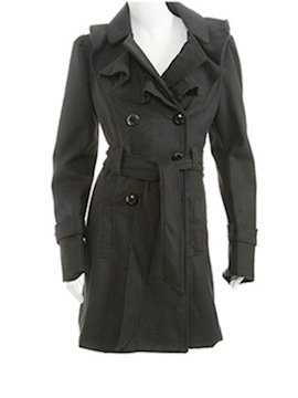 Long db ruffle wool coat