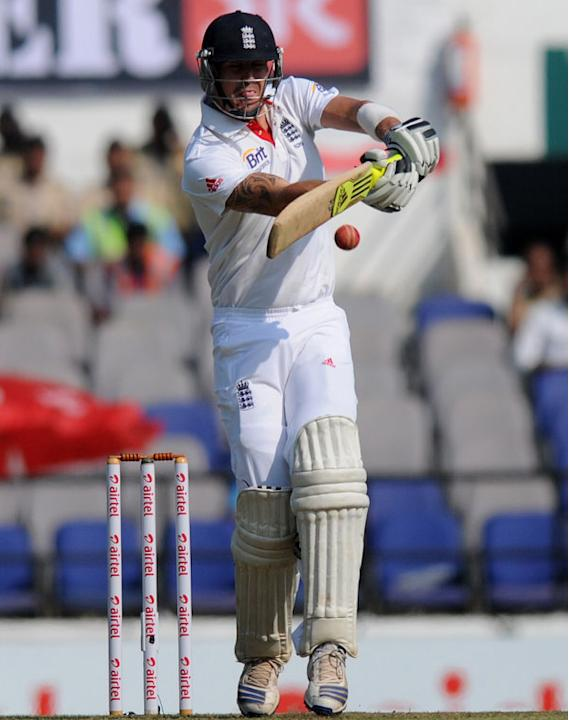 Kevin Pietersen plays a pull shot on Day 1 of the fourth cricket Test match between India and England at the Jamtha Stadium in Nagpur, December 13, 2012. (BCCI)