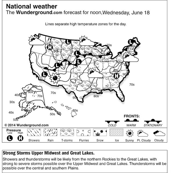 This is the Weather Underground forecast for Wednesday, June 18, 2014