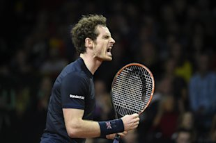 Britain's Andy Murray reacts during his tennis match against Belgium's Ruben Bemelmans on the first day of the Davis Cup final between Belgium and Britain at the Flanders Expo in Ghent on November 27, 2015 (AFP Photo/John Thys)
