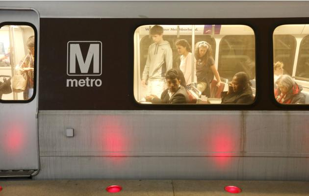 A Metro train arrives at a station in Washington