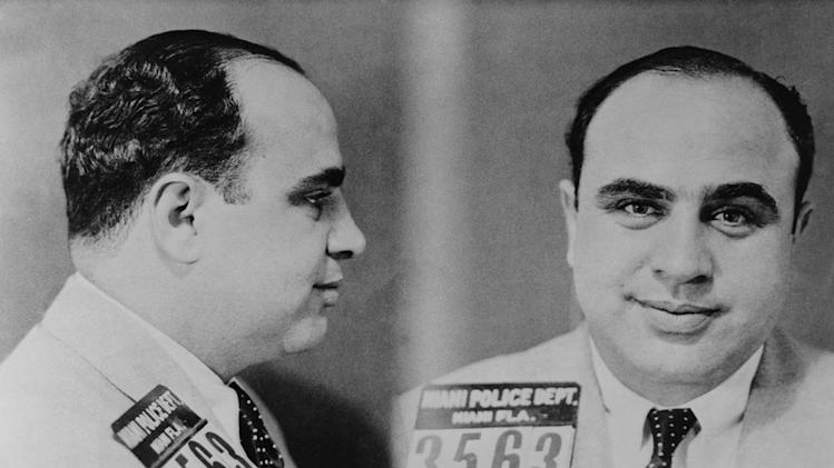 "Two mug shots of Al Capone taken by Miami police in 1931 as seen on ""Prohibition."""