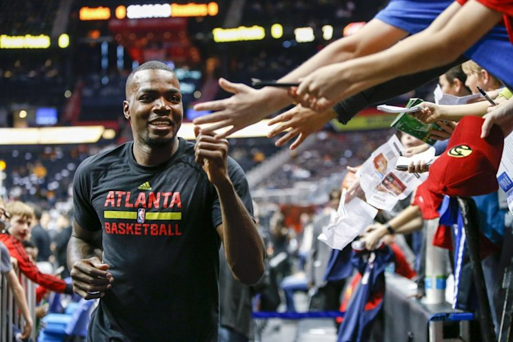 Atlanta Hawks forward Paul Millsap, the face of the franchise and free agent to be, is all smiles. (AP)