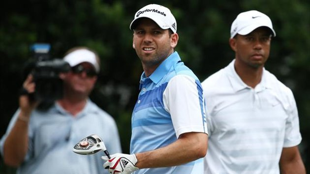 Tiger Woods of the USA and Sergio Garcia of Spain