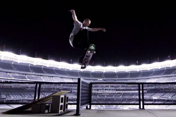 Skateboarders in Yankee Stadium