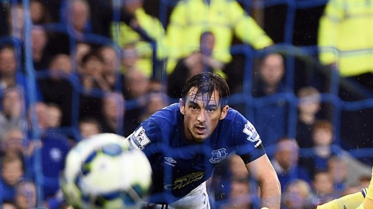 English premier league soccer match at goodison park in liverpool