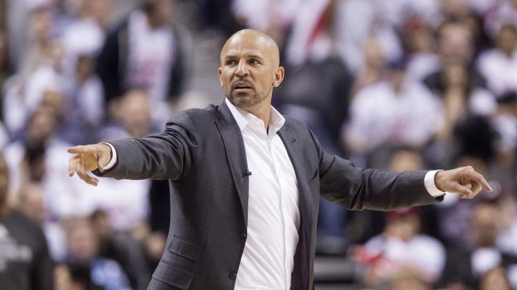 Brooklyn Nets coach Jason Kidd gestures during Game 1 of an opening-round NBA basketball playoff series against the Toronto Raptors, in Toronto on Saturday, April 19, 2014. The Nets won 94-87