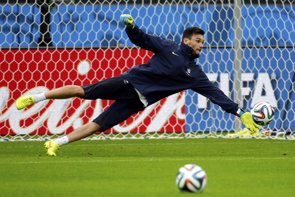 France's national goalkeeper Lloris saves the ball during his team's final practice at the Beira-Rio in Porto Alegre
