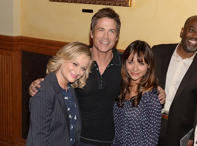 "Amy Poehler, Rob Lowe, and Rashida Jones at the ""Parks And Recreation"" 100th Episode Celebration on Oct. 16, 2013 in Studio City, Calif."
