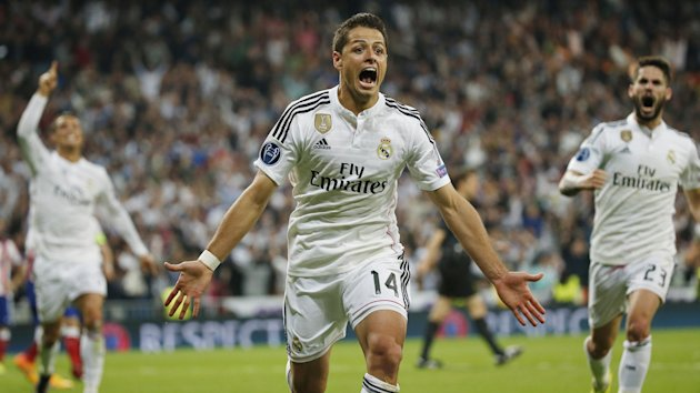Javier Hernandez celebrates his winning goal for Real Madrid against Atletico Madrid