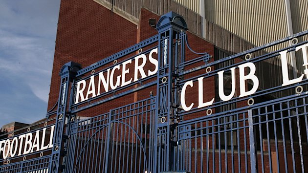 General view of the gates at Ibrox Stadium, home to Rangers Football Club.