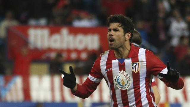 Liga - Atletico keep pace with Barca thanks to Costa double