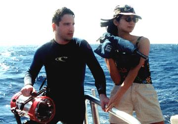 Director Chris Kentis and producer Laura Lau during the filming of Lions Gate's Open Water