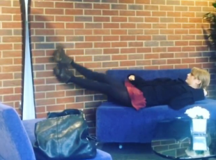 Taylor Swift Can't Get Comfortable On Airport Couch, Internet Loves It (Photo) image Taylor Swift Cant Get Comfortable