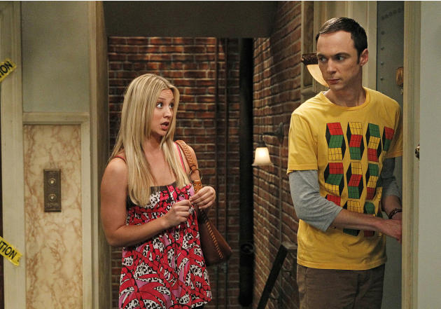 In this publicity image released by CBS, Kaley Cuoco, left, and Jim Parsons are shown in a scene from