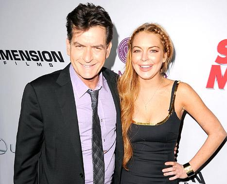 Lindsay Lohan, Charlie Sheen Walk Red Carpet Together at Scary Movie 5 Premiere: Picture