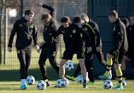 Dortmund's head coach Juergen Klopp (2nd L), seen with players during a training session in Dortmund-Brakel, Germany, on March 4, 2013, on the eve of their second leg round of 16 Champions League match against Shakhtar Donetsk. 1st leg match, three weeks ago at Donetsk, ended in a 2-2 draw