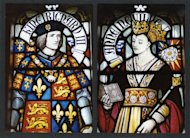 Richard III and his queen, Anne of Neville, appear in a stained glass window in Cardiff Castle.