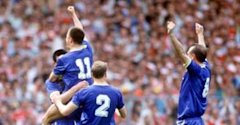 FOOTBALL Wimbledon celebrate Lawrie Sanchez's winning goal against Liverpool in the 1988 FA Cup final - 0