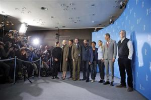 "Actors Dafoe, Norton, Swinton, director Anderson, Fiennes, Revolori, Ronan, Goldblum and Murray pose to promote the movie ""The Grand Budapest Hotel"" at the 64th Berlinale International Film Festival in Berlin"