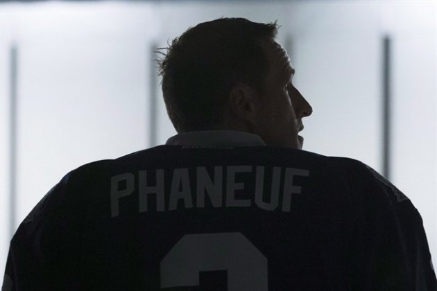 Toronto Maple Leafs captain Dion Phaneuf poses during a shoot for a television network Sept. 18, 2014. (CP)