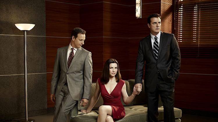 "Josh Charles as Will Gardener, Julianna Margulies as Alicia Florick, and Chris Noth as Peter Florick in ""The Good Wife."""