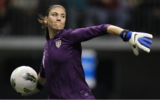 United States goalkeeper Hope Solo (1) clears the ball from in front of her net during the second half against Costa Rica at the CONCACAF women's Olympic qualifying soccer game action at B.C. Place in
