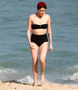 Florence Welch Wears Retro Bikini, Red Swimming Cap