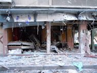 "A handout image released by the Syrian opposition Shaam News Network shows a shop destroyed during a Syrian government offensive in the city of Duma. French Foreign Minister Alain Juppe on Wednesday labelled the UN-backed peace plan for Syria ""seriously compromised"" and held out the threat of seeking military action to end the year-long crackdown"
