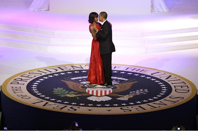 President Barack Obama and first lady Michelle Obama dance during the Commander-In-Chief Inaugural ball at the Washington Convention Center during the 57th Presidential Inauguration Monday, Jan. 21, 2