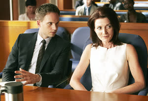 Patrick J. Adams and Michelle Fairley | Photo Credits: Ian Watson/USA Network