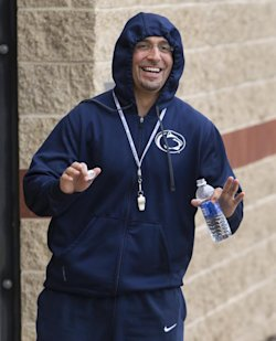 New Penn State coach James Franklin doesn't lack for energy. (AP)