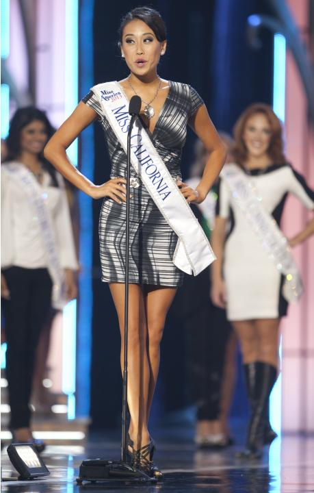 Miss America 2014 contestant, Miss California Crystal Lee, competes in a preliminary round during the Miss America Pageant in Atlantic City