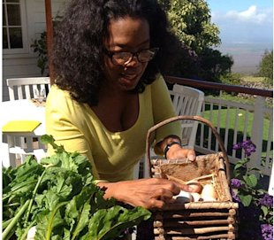 Oprah recently tweeted this photo of herself getting eggs from chickens she keeps at her home. (Instagram)